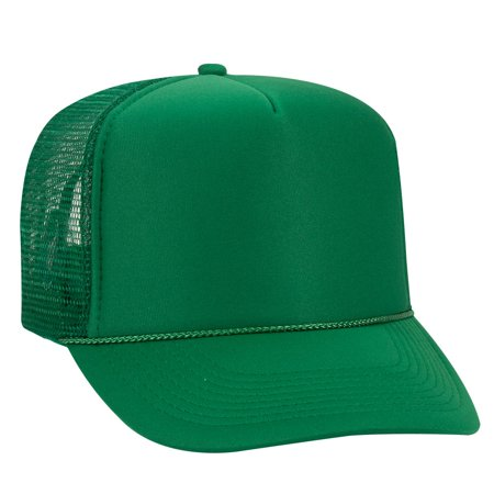 Brown High Top - OTTO Polyester Foam Front 5 Panel High Crown Mesh Back Trucker Hat - Kelly