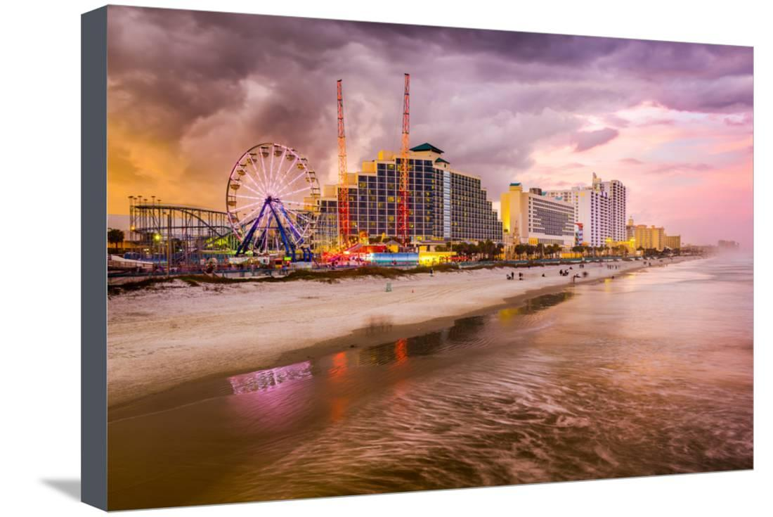 Daytona Beach, Florida, USA Beachfront Skyline. Stretched