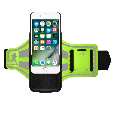 iPhone 7 Plus Sports Gym Running Bike Armband with Built-In Holster and Carry On Shell Kickstand Case Reflective Strap - Green