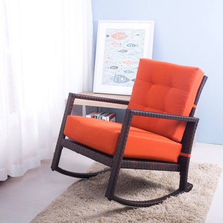 Merax Rattan Rocker Chair with Cushions and Armrests - Walmart.com
