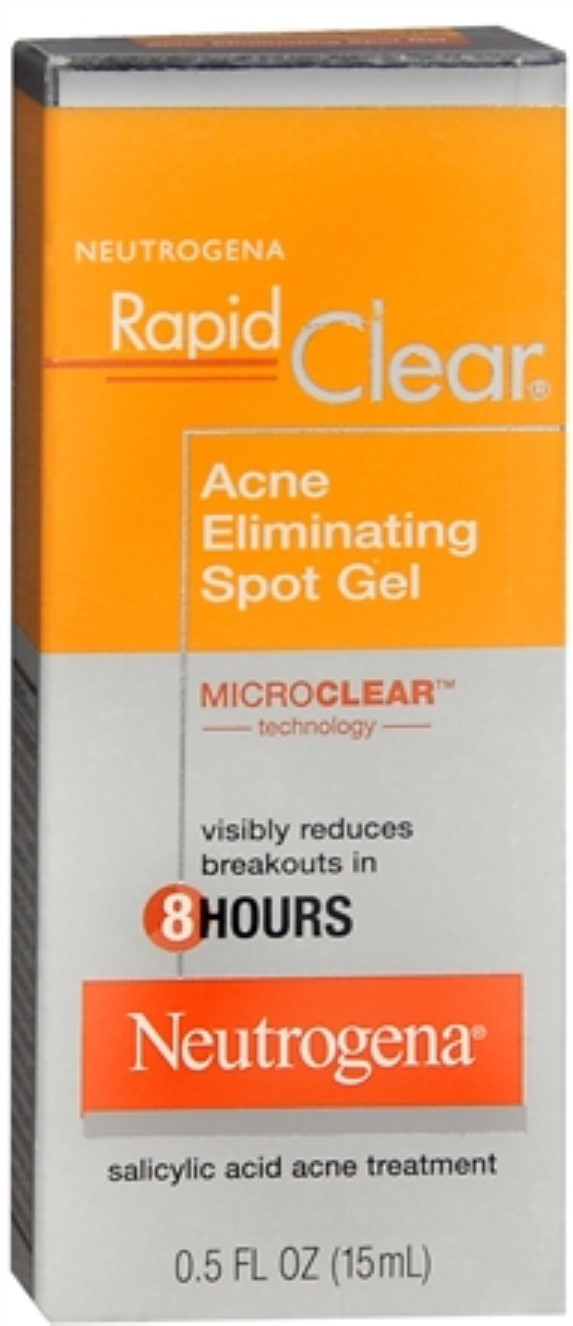 Neutrogena Rapid Clear Acne Eliminating Spot Gel 0.50 oz (Pack of 2) Alpha Hydrox AHA Enhanced Creme, Anti-Wrinkle Exfoliant - 2 oz