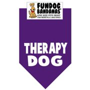 Fun Dog Bandana - THERAPY DOG - One Size Fits Most for Med to Lg Dogs, purple pet scarf