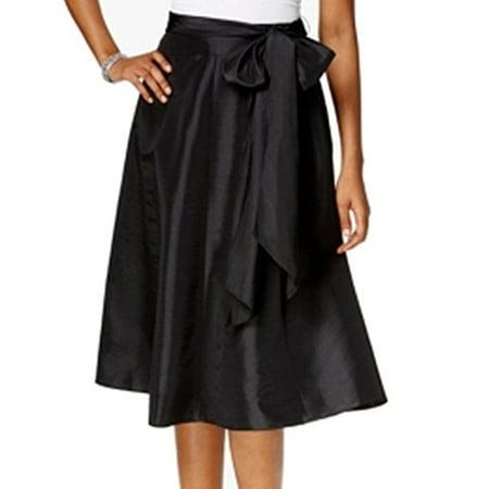 MSK NEW Black Womens Size Small S Solid Tie-Waist A-Line Taffeta Skirt (Flocked Taffeta Skirt)