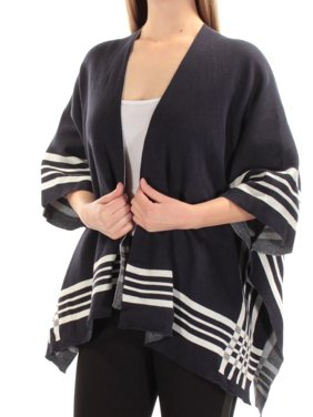 a04f76461585 Product Image CHARTER CLUB Womens Navy Striped Open PONCHO Sweater Size:  ONE SIZE