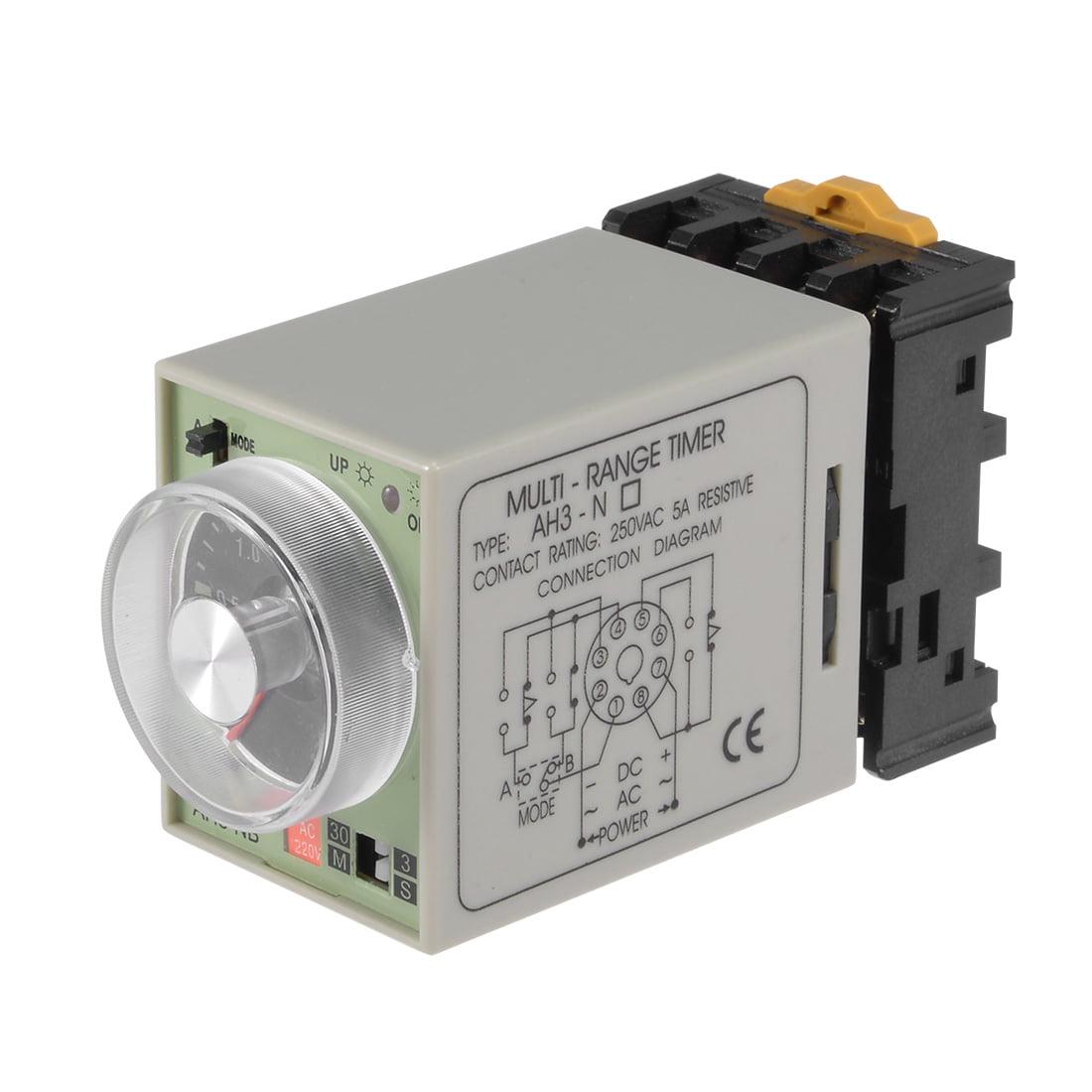 Ac220v 3s 30m 8 Terminals Range Adjustable Delay Timer Time Relay Wiring Diagram For Off On Lights Ah3 Nb W Base