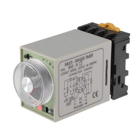 AC220V 3S-30M 8 Terminals Range Adjustable Delay Timer Time Relay AH3-NB w base - image 5 of 5