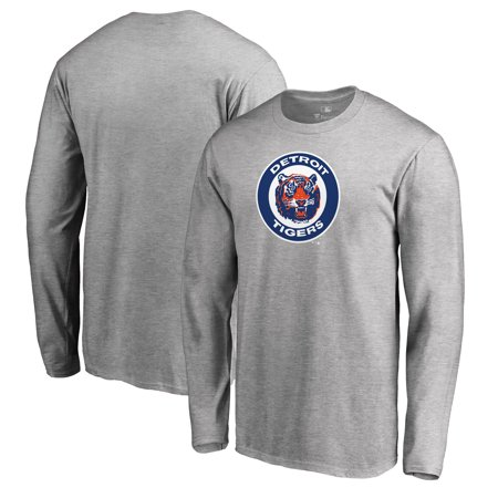 Detroit Tigers Fanatics Branded Big & Tall Cooperstown Collection Huntington Long Sleeve T-Shirt - Heathered (Detroit Bib)