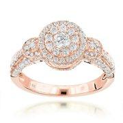 Luxurman  14k Gold 1 1/3ct TDW Multi-circle Diamond Engagement Ring