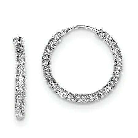 Sterling Silver Rhodium-plated Laser Cut Endless Hoop Earrings QE8563 - image 2 of 2