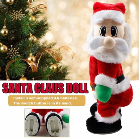 Clearance! Kids Electric Santa Claus Toy Wriggling Butt Music Toy Santa Claus Cloth Doll Plush Toy (Spanish)