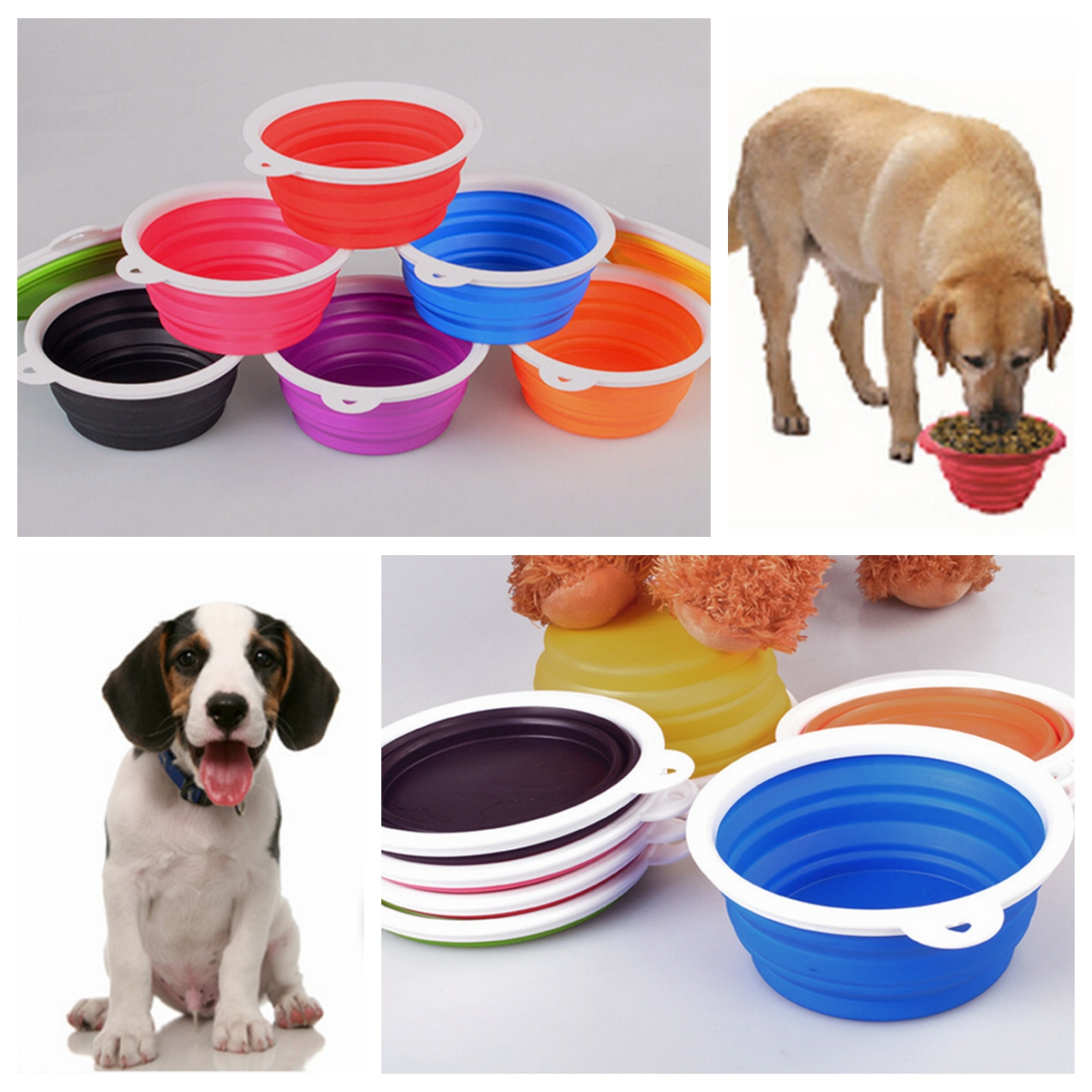Collapsible Silicone Pet Bowl Expandable Cup Dish For Pet Dog / Cat Food Water Feeding Portable Travel Bowl