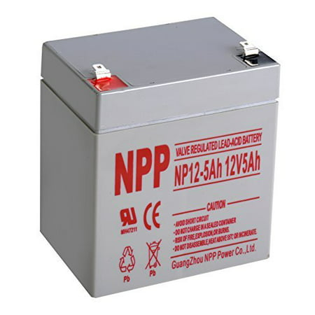 NPP 12V 5 Amp NP12-5Ah F2 Rechargeable Sealed Lead Acid Battery with F2 style Terminals