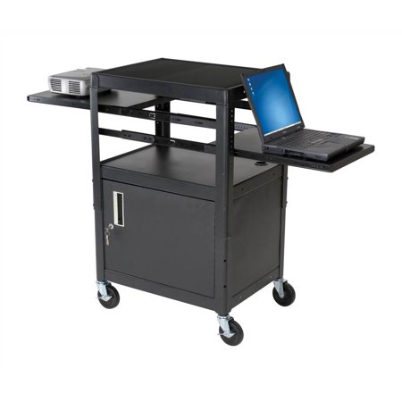 Dual adjustable laptop cart in black - Computer cart walmart ...