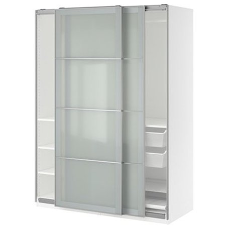 official photos d0a26 05e73 Ikea Wardrobe, white, Sekken frosted glass 38386.8268.216