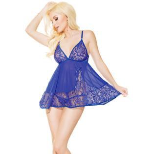 - Women Mini Halter Sheer Lace Bust Lingerie Blue