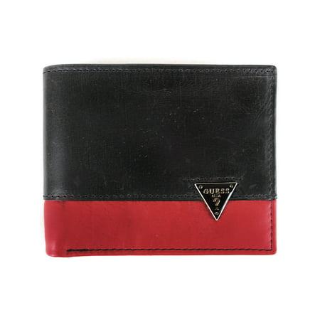 Guess Mens Ricardo Leather Organizational Bifold Wallet Black Guess Designer Wallet