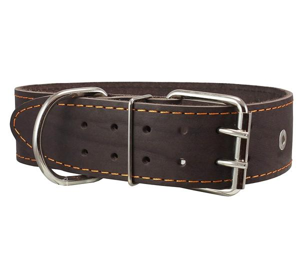 """Genuine Leather Studded Dog Collar, Brown, 1.75"""" Wide. Fits 18.5""""-22"""" Neck.For Large Breeds... by Dogs My Love LLC"""