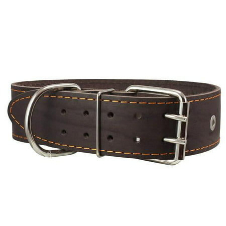 "Genuine Leather Studded Dog Collar, Brown, 1.75"" Wide. Fits 18.5""-22"" Neck.For Large Breeds Boxer, Pit Bull."