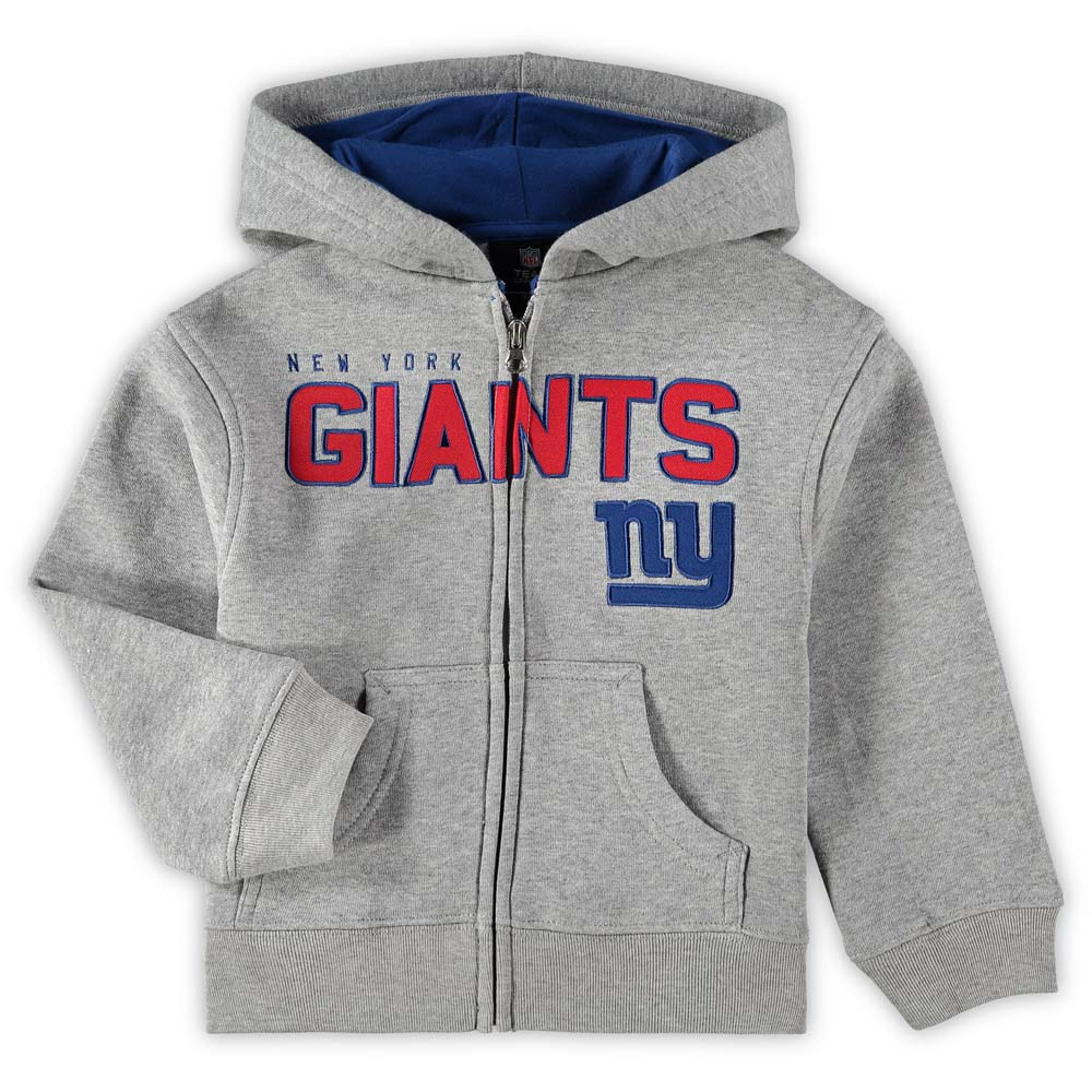 New York Giants Toddler Fan Gear Stated Full Zip Hoodie - Gray