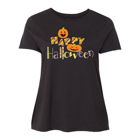 Happy Halloween- decorated letters with dancing pumpkins Women's Plus Size T-Shirt - Halloween Shirts Plus Size