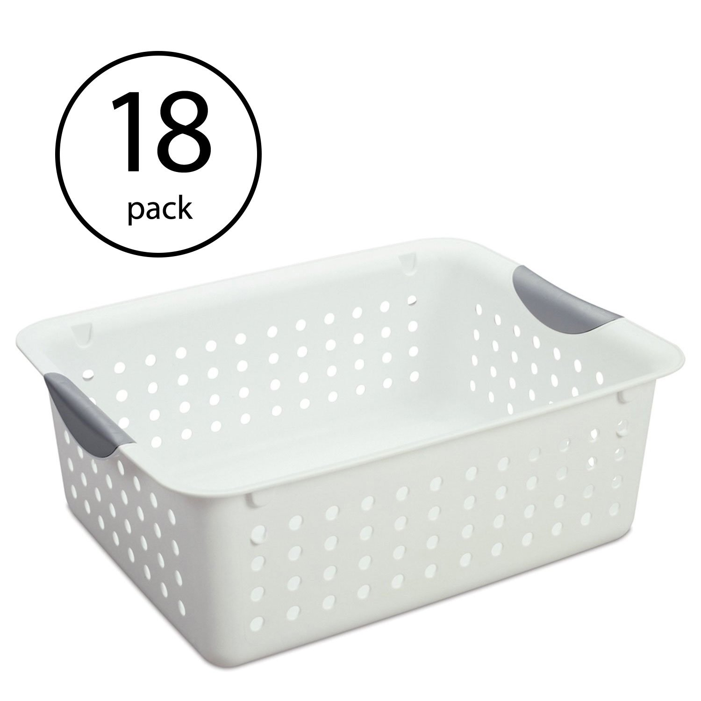 Sterilite Medium Ultra Plastic Storage Bin Organizer Basket, White (18 Pack)