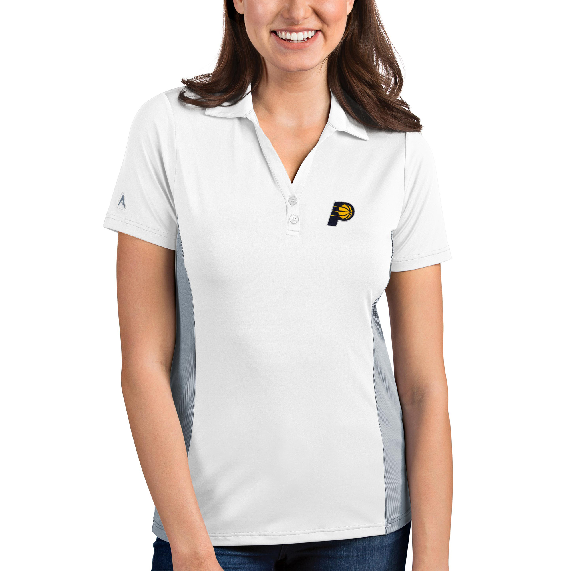 Indiana Pacers Antigua Women's Venture Polo - White/Gray