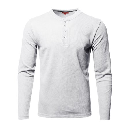 FashionOutfit Men's Thermal Henley Crew Neck Long Sleeve T-Shirt Cat Long Sleeved Denim Shirt