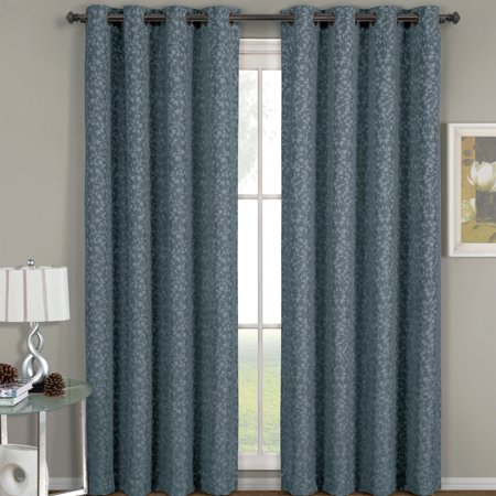 - Fiorela Heavyweight Jacquard Drapes Floral Curtain Panels With Grommets (Single) - Blue - 54x63