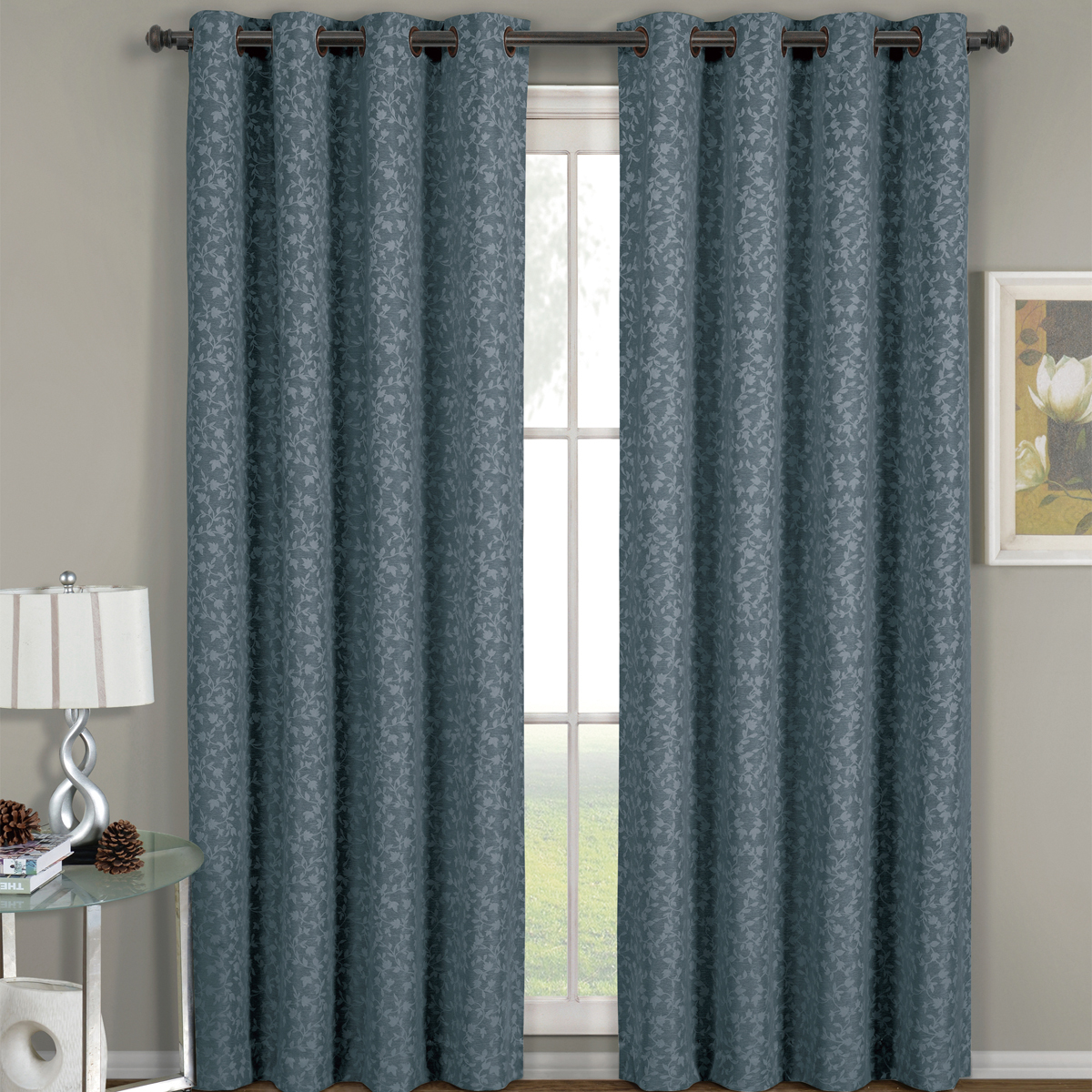 Fiorela Heavyweight Jacquard Drapes Floral Curtain Panels With Grommets (Single) - Blue - 54x63