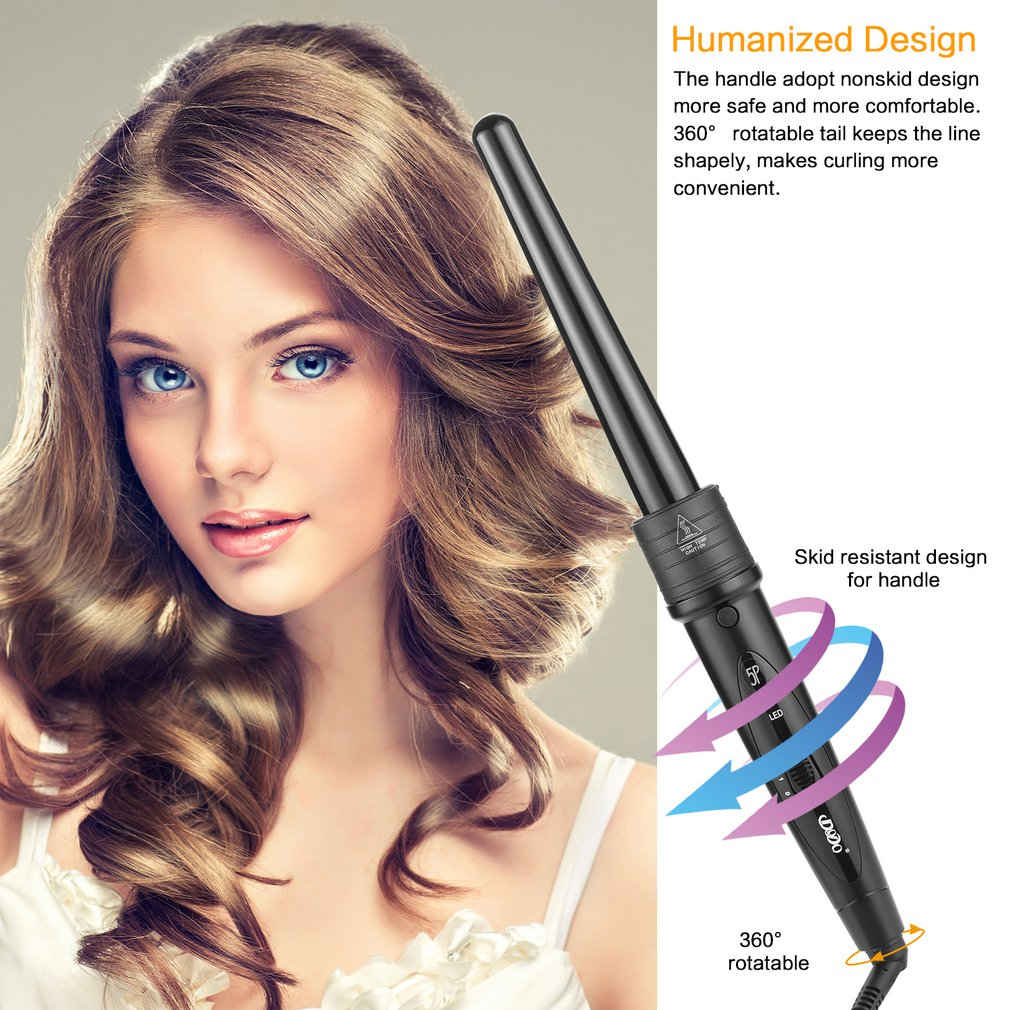 gift clearance# Pro Salon 5-in-1 Interchangeable Hair Curling Iron Multi-size Roller Heat Resistant Glove Styling Set