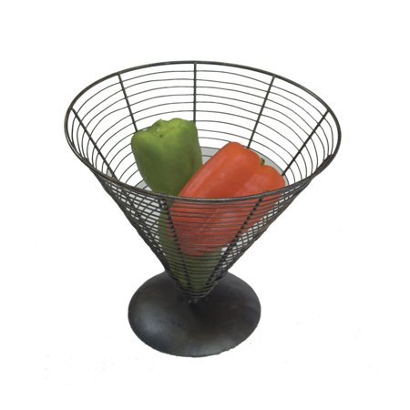 Wire Baskets Black 9.5 Inch Black Wire Cone Basket w/ Screw On Base 9.25 Inch Tall ()