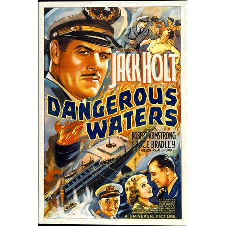 Dangerous Waters Top Left Jack Holt Bottom Center Grace Bradley Bottom Right Robert Armstrong 1936 Movie Poster - Bradley Center