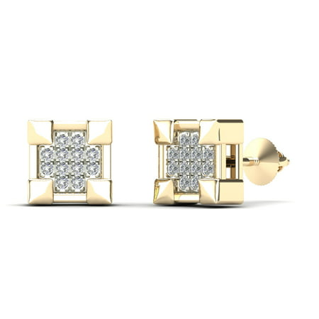 aaXia Women's 14K Yellow Gold Diamond Accent Claw Square Stud (White Gold Claw)