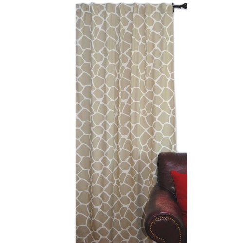 EZ Living Home Giraffe Animal Print Semi-Sheer Tab Top Curtain Panel