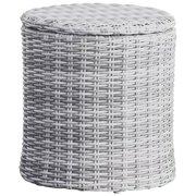 Elle Decor Vallauris Wicker Patio Storage Side Table in Gray