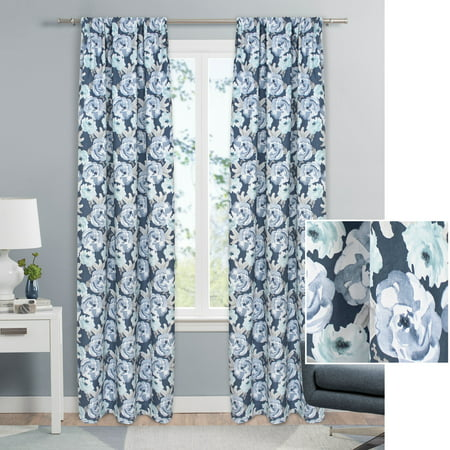 - Mainstays Watercolor Floral Single Curtain Panel