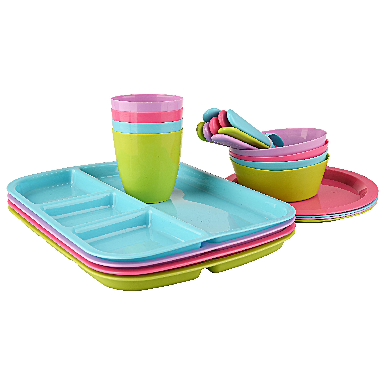 Walmart Housewares: Mainstays Plastic Multi Colored Kids' Dinnerware Set, 24
