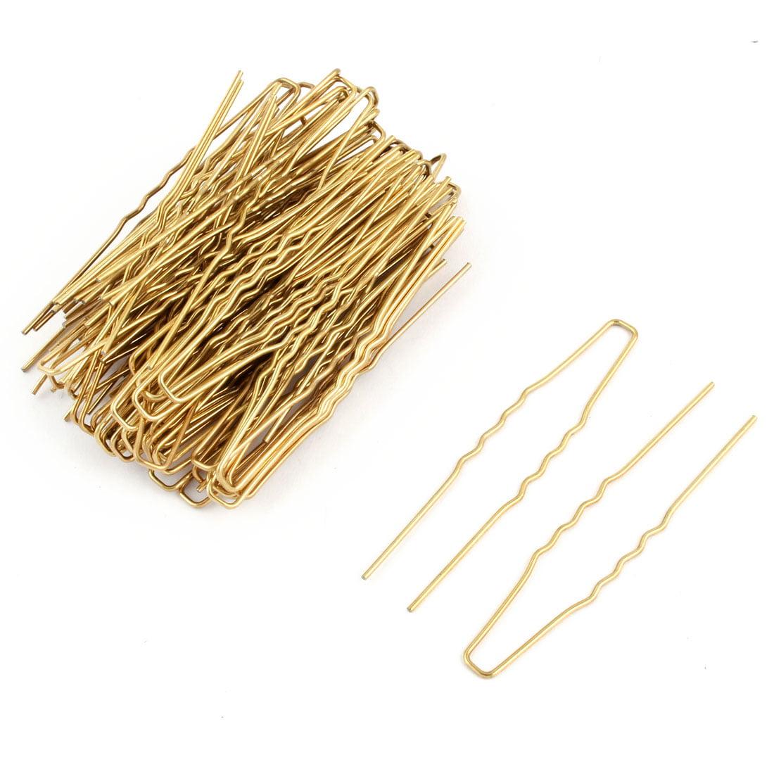 Women Metal U Shape Hairstyle Hair Clip Hairpin Gold Tone 6.4cm Length 80pcs