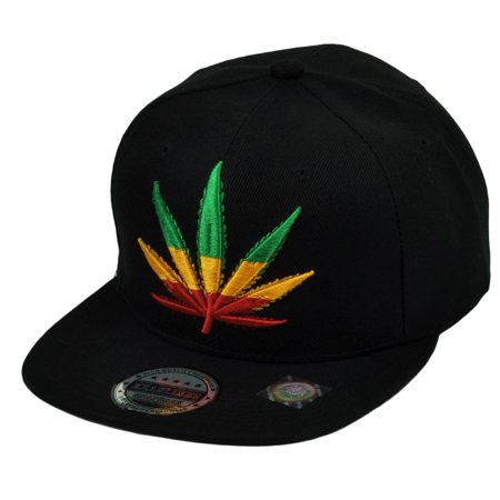 e5cc557b9134 Rasta Colors Marijuana Weed Leaf Ganja Snapback Flat Bill Cannabis Hat Cap  Black