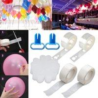 EEEkit Balloon Decorating Strip Kit, 20Pcs Balloon Flower Clip 2 Rolls Dot Glue total 32Ft 2 Rolls Ribbon 2pcs Balloon Tying Tool for Party Wedding Birthday Christmas Festival Balloon Arch Garland DIY