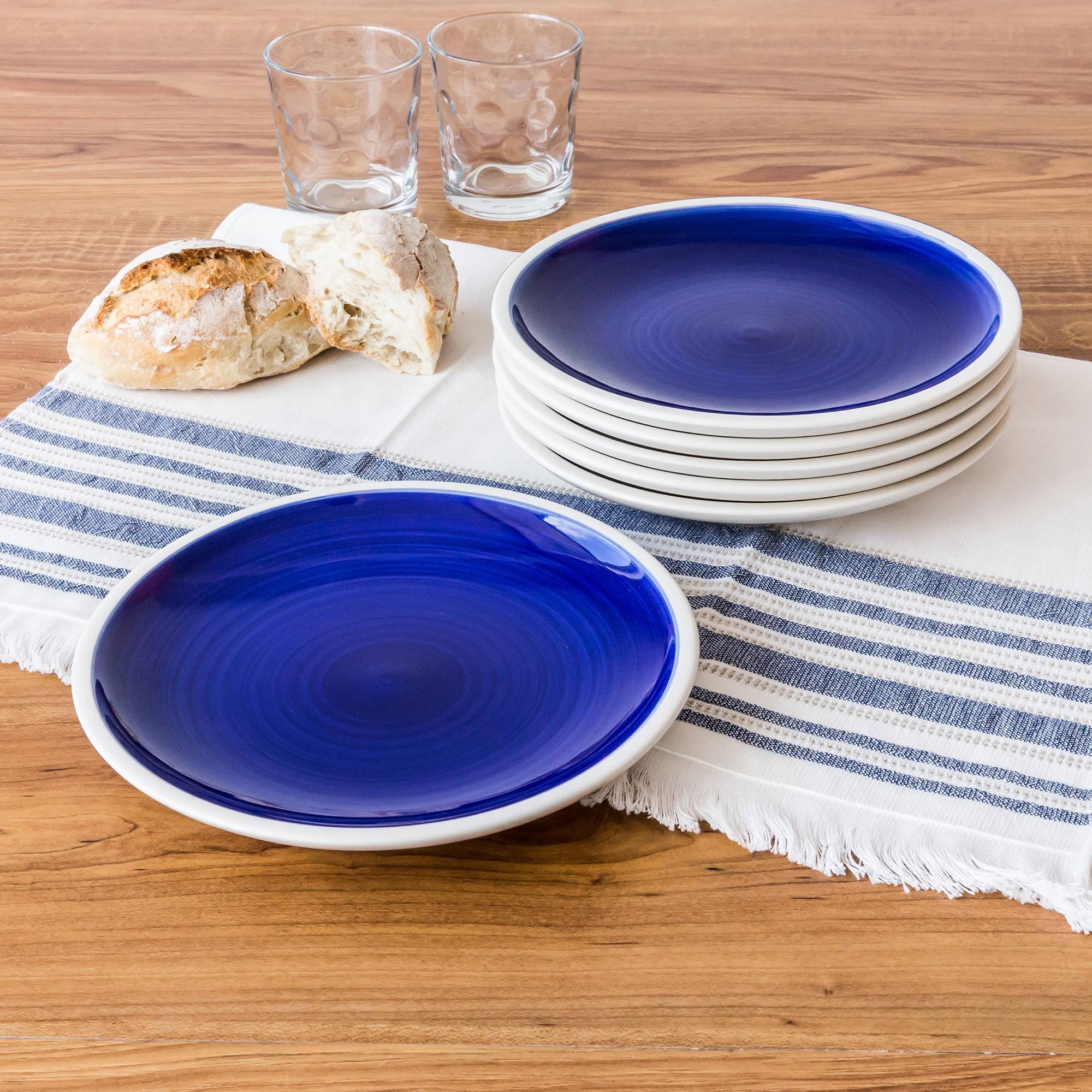 Better Homes and Gardens Indigo Swirl Salad Plates, Blue, Set of 6