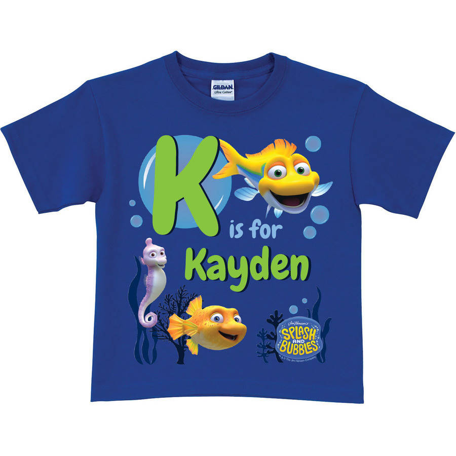 Personalized Splash and Bubbles Initial Toddler Blue T-Shirt