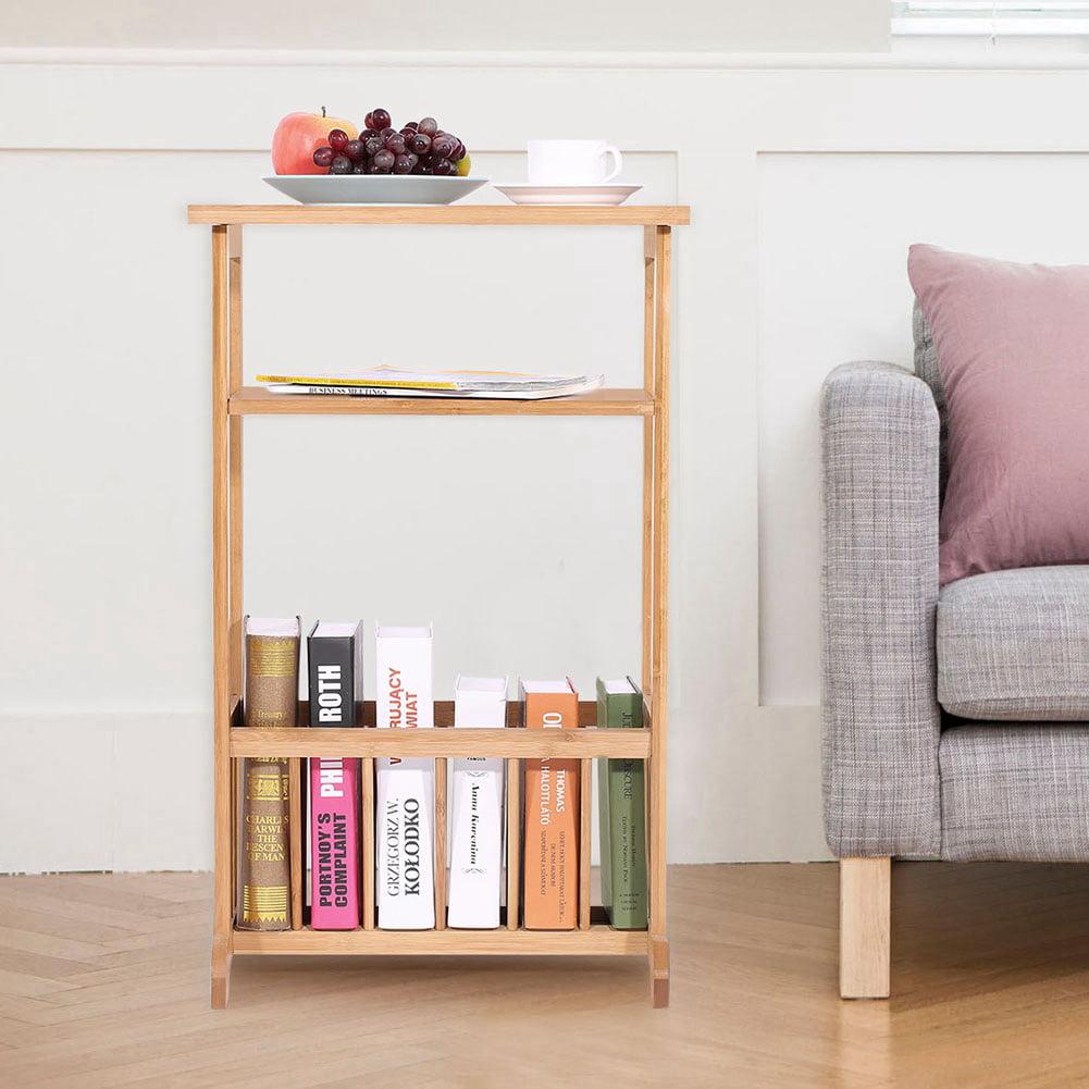 Knifun 2 Tier Sofa Side Table, Bamboo Telephone / Coffee / End / Storage Rack,Sofa Side Table, Bamboo Sofa Side Table