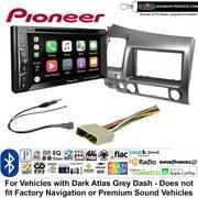Pioneer AVH-1440NEX Double Din Radio Install Kit with Apple CarPlay, Bluetooth, HD Radio Fits 2006-2011 Honda Civic (Dark Atlas Grey) + Sound of Tri-State Lanyard