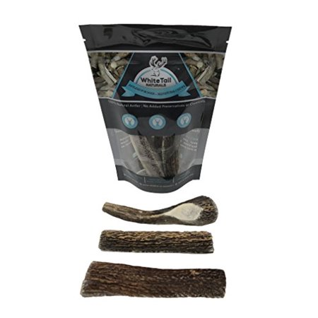 WhiteTail Naturals Premium Split Elk Antlers For Dogs - 3 Pack Small - All Natural Dog Chews - USA Natural Shed - 4 to 5 Inch Long Odorless & Mess Free - Small Antler Chew -