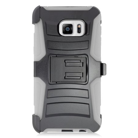 Insten Stand Dual Layer Hybrid Case with Holster For Samsung Galaxy S6 Edge Plus - Black/Gray - image 1 de 4