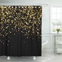 PKNMT Yellow Black Amber Particles Color Celebratory Golden Explosion of Confetti Bathroom Shower Curtains 60x72 inch