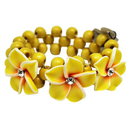 Fashion Jewelry Coco Beads - Tropical Yellow Beaded Coco Flower Bracelet With White and Orange Accented Flower Charms