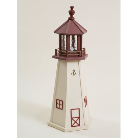 3 Foot Beige & Burgundy (Cape May, NJ) Wooden Lighthouse w/ Standard Electric Light - Amish - Amish Lighthouse
