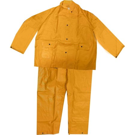 - Men's 35 Mil Yellow Pvc Rainsuit with Pants, Jacket With Detachable Hood, XL (Lbd: RAIN-49040)